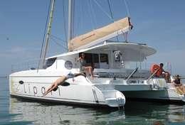 Baignade du catamaran