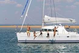 Plongeon en famille du catamaran