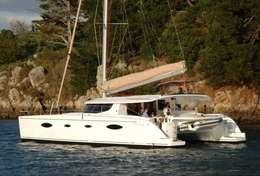 Catamaran Salina 48 en navigation à Lefkas