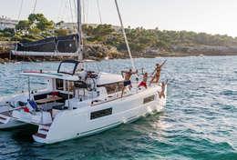 Jeux d'eau à bord du catamaran
